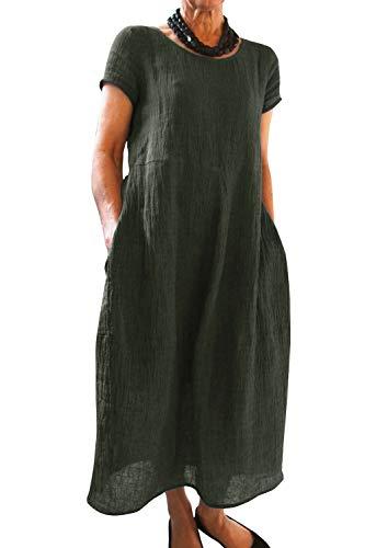 Yidarton Kleider Damen Lang Sommer Elegant Strandkleid Kurzarm Rundhalsausschnitt Casual Lose Maxi Kleider mit Taschen (Medium, Z-Grün)