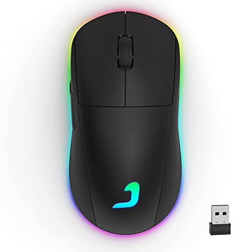 Kabellose Gaming Maus, Programmierbare Wireless Gaming Mouse mit RGB Hinterbeleuchtung, 10000 DPI, Dual Mode Kabelgebunden & Funkmaus für PC, Laptop, Schwarz
