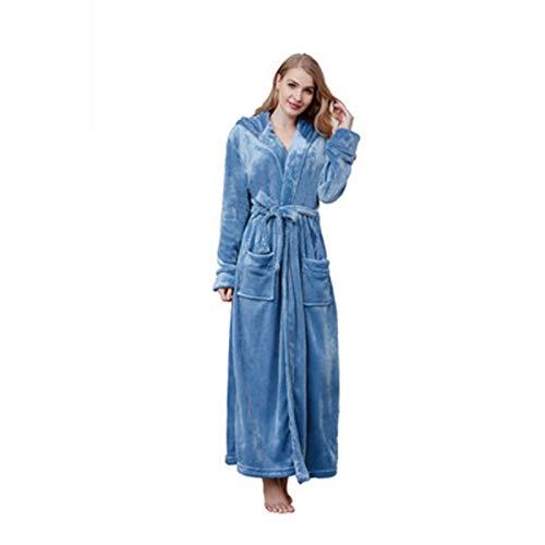 Susenstone Peignoir Femme Polaire Sexy Hiver Chaud Pyjama Flanelle Chic Robe De Chambre Longue Kimono Femme Nuit Pas Cher VêTements De Nuit (XXL, Bleu clair)