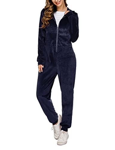 NB Chándal Terciopelo Mujer Conjunto Mono Completo Conjunto Deportivo Sudadera Chaqurta Manga Larga con Cremallera Capucha Y Pantalones Pijamas Terciopelo