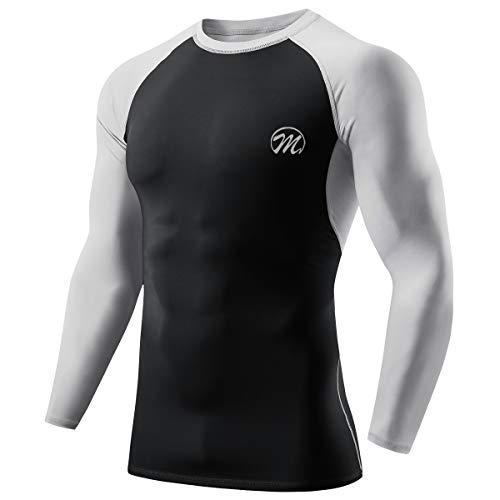 MEETWEE Maglia a Compressione Uomo, Manica Lunga Asciugatura Rapida T Shirt da Sport per Corsa Palestra Fitness (Nero, M)