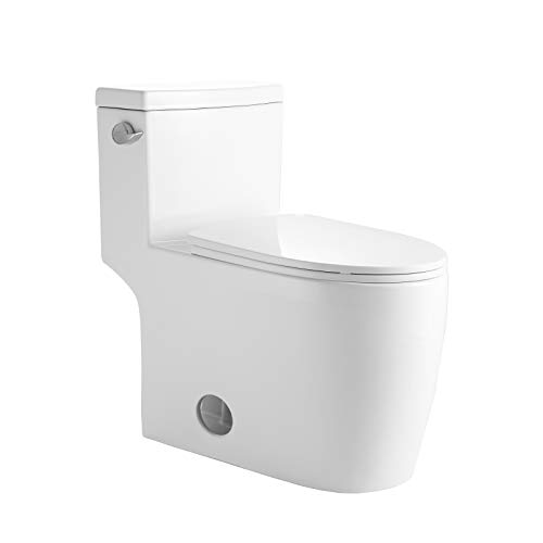 """Mecor One Piece Toilet Siphon Dual Flushing,Soft Closing Quick Release Seat Glossy White(28.7""""x16.5""""x28.7"""")"""
