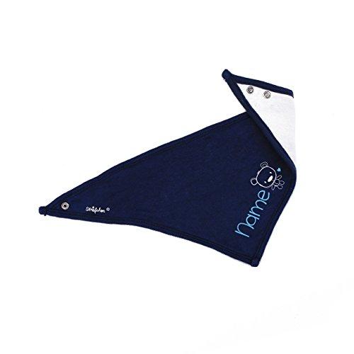 Striefchen® Baby Halstuch aus weicher Baumwolle mit Namen in Blau - niedlicher Teddy - ideal als Babygeschenk