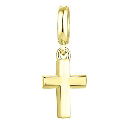 JO WISDOM Mujer Abalorios Charm Cruz en plata de ley 925 con Circonita 3A para Pandora Pulsera con baño de Oro Amarillo para Mujeres Niñas,Tamaño del orificio: 4.5 mm
