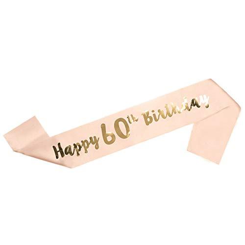"""LINVINC Oro Rosa Banda de Satén para Cumpleaños - """"Happy Birthday"""" (Feliz Cumpleaños) 16/18/21/30/40/50/60 Años Decoración y Regalo para Fiesta de Cumpleaños, 60 Años"""
