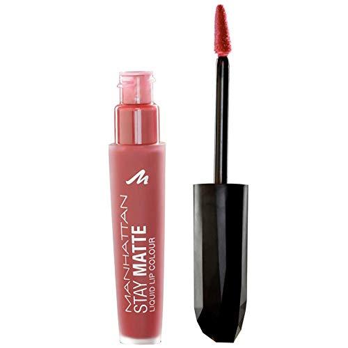 Manhattan Stay Matte Liquid Lip Colour – Matter, wisch- und wasserfester Lippenstift für langanhaltende Farbintensität – Farbe The Naked Cowgirl 100 – 1 x 5,5ml