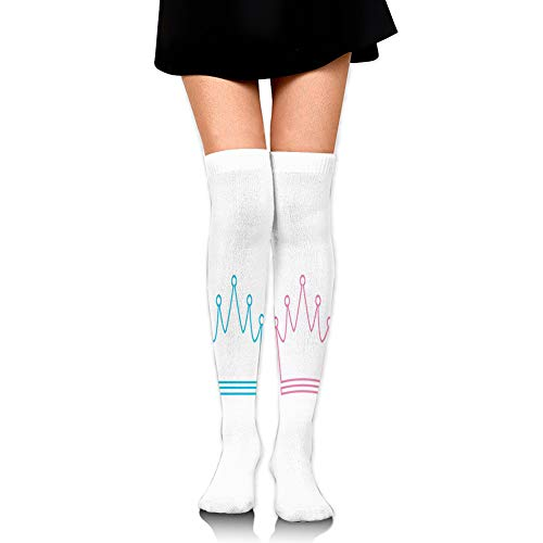 Preisvergleich Produktbild KLYDH Personalized Socks, Simplistic Crown Icons Baby Twins Boy and Girl Colors Prince Princess, Knee High Compression Sock, Best Running, Athletic Sports, Crossfit, Flight Travel, Long25 inches / 65cm