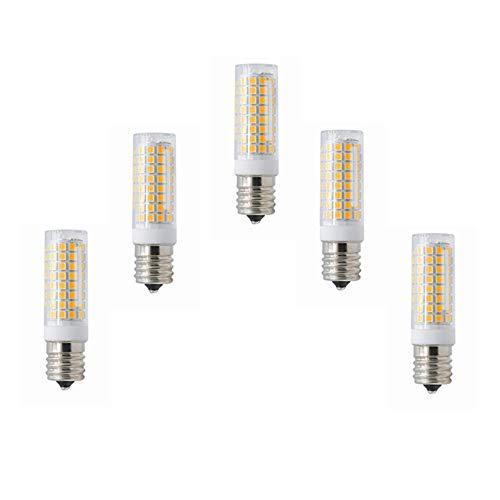 Bombillas E17 Bombilla LED Luz de horno de microondas regulable 5 vatios 3000K / 6000K 102X2835SMD 400-450LM AC110-130V Paquete de 5. Equivalente (Color : Warm white)