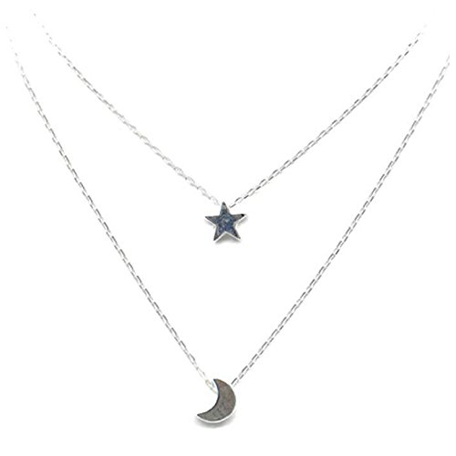 TOOGOO Double layer star Moon lady Necklace of silver