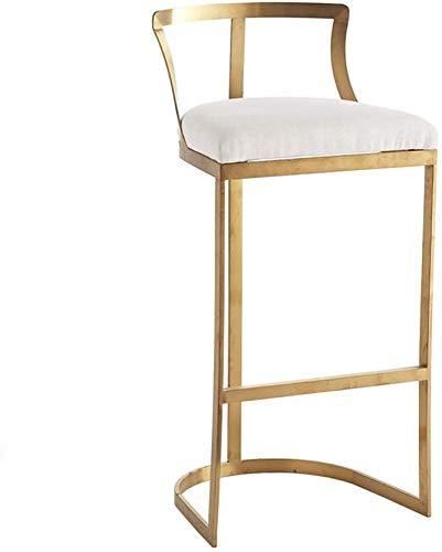 YZjk Barhocker Stuhl Küche Frühstücksstuhl, Thekenstuhl, Eisenhochstuhl, gepolsterter Schwammstuhl (Farbe: Gold, Größe: 65cm)