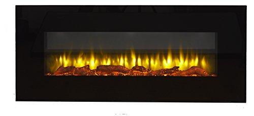 endeavour fires and fireplaces Chimenea eléctrica de Pared Holbeck, Vidrio Plano Negro, 1 & 2kW, 7 días Control Remoto programable (L 1270mm x H 550mm x W 140mm)