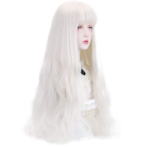 Long White Synthetic Wig with Bangs - Natural Wavy Hair with Wig Cap 23' (White)
