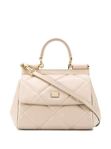 Moda De Lujo   Dolce E Gabbana Mujer BB6003AW59187575 Beige Cuero Bolso De Mano   Otoño-invierno 20