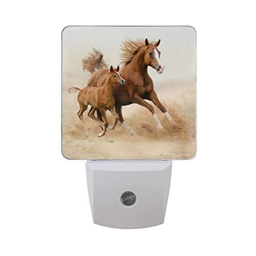 AOTISO Reinrassiges weißes arabisches Pferd mit Pony-Baby im Wüstensandfeld Auto Sensor Nachtlichtstecker im Innenbereich