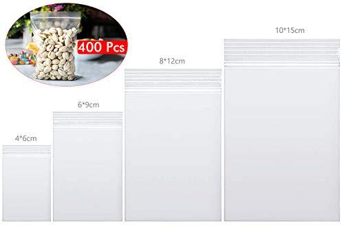 Wandefol 400 Pezzi Sacchetti in plastica Trasparente risigillabili, Borsa con Chiusura a Cerniera Rigida Riutilizzabile per Alimenti, Gioielli, Piccoli Oggetti (4x6cm, 6x9cm, 9x13 cm,13x19cm)