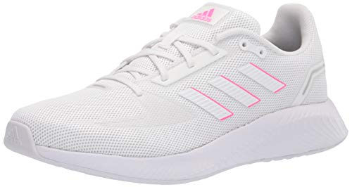 adidas Women's Runfalcon 2.0 Running Shoes, White/White/Screaming Pink, 9.5