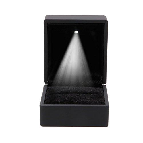 kanstore romántico LED iluminado pendientes anillo caja de regalo boda anillo de compromiso joyas pantalla caja (negro)