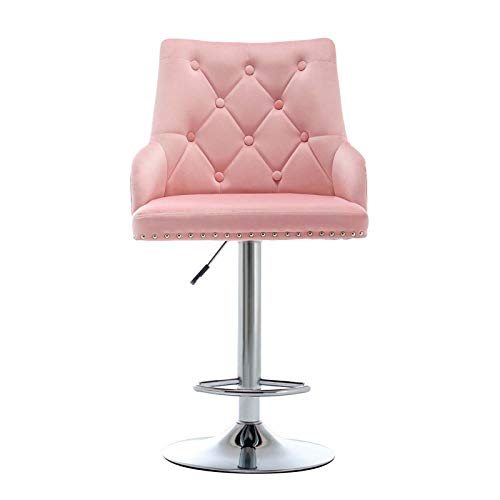 LEPAK Bar Stools,Pink Velvet Bar Chairs with Button Tufting,Upholstered Counter Stool with Adjustable 360°Swivel Gas Lift and Polished Chrome Metal Base for Breakfast Bar, Kitchen and Home