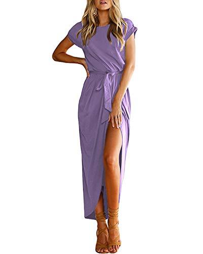 YOINS Sommerkleid Damen Lang Maxikleider für Damen Strandkleid Sexy Kleid Kurzarm Jerseykleider Strickkleider Rundhals mit Gürtel Lila M