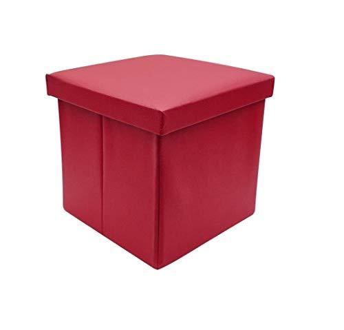 Ducomi Puf plegable cubo reposapiés, contenedor, baúl, contenedor para juegos, sillón contenedor para salón, diseño italiano (Leather, Red)