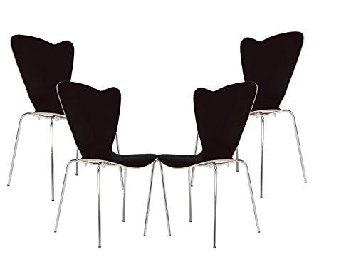 MAUSER SITZKULTUR 4er-Set Design Stühle HEART in Holzdekor schwarz ohne Armlehne, stapelbar, M528