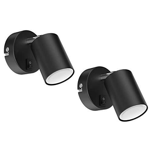 ledscom.de Wandspot WAIKA, einflammig, mit Schalter, GU10, schwarz matt, inkl. 340lm LED GU10 Lampe, warm-weiß, 2 Stk.