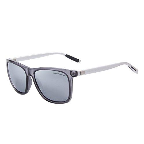 cheap MERRY'S Unisex Polarized Aluminum Sunglasses Vintage Sunglasses Men's / Women's S8286 (Silver, 56)