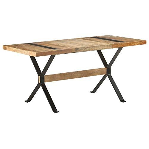 Tidyard Table de Salle à Manger Rectangulaire, Table de Repas Meuble à Manger, Table Console Extensible 160x80x76 cm Bois de manguier Brut