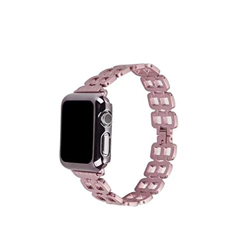 YEDDA Fashion Party 38-42mm Correa de reloj para Apple Watch Series 1, 2, 3, banda de reloj de acero inoxidable para Apple Series iWatch pulsera inteligente (color: oro rosa, tamaño: 42mm)