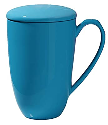 immaculife Tea Cup with Infuser and Lid Ceramic Tea Mug with Lid 15OZ Large Tea infuser Mug Tea Steeping Mug Blue