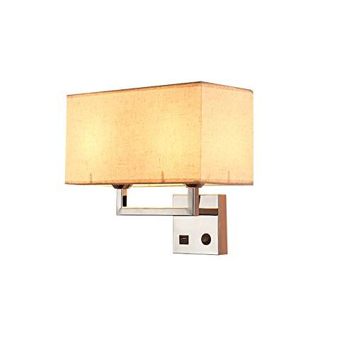 Lámpara de pared robusta y estable, luz USB suave, adecuada para pasillo, dormitorio, salón, hotel.