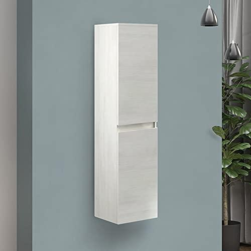 Colonna sospesa arredo bagno legno MDF, Altezza 136 cm, ante reversibili, ripiani interni in vetro (Bianco Venato)