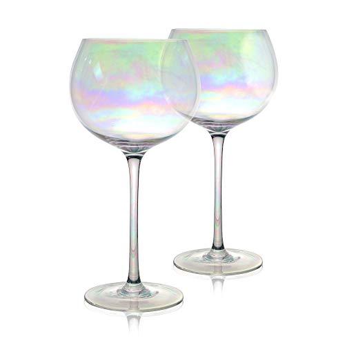 Vasos multicolor iridiscente para ginebra - Juego de 2 | Vasos de cóctel 700ml | Copa de Balon| Regalos| Juegos de vajilla de vidrio | M&W