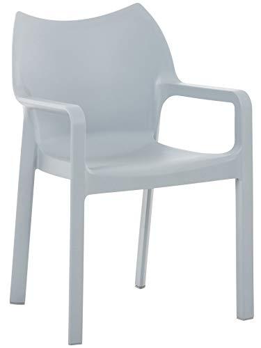 CLP Kunststoff-Gartenstuhl Diva mit Armlehnen I XXL- Kunststoffstuhl mit Einer Belastbarkeit von 160 kg, Farbe:hellgrau