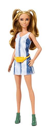 Barbie- Fashionistas Bambola con Vestito Denim, FXL48