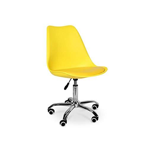 Cadeira Eiffel Office Base Giratória - Amarela