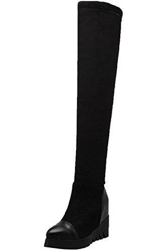 Botas Altas Mujer Elasticas Plataforma Aumento Cuña Negro Otoño Invierno sobre la Rodilla Botas De BIGTREE