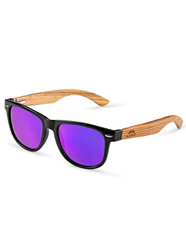 Amexi Gafas de Sol Polarizadas Hombre y Mujere, UV400 Protection, Gafas Ligeras con Patillas de Madera (Lila) …