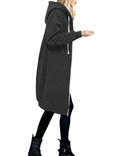 Onsoyours Damen Herbst Winter Outing Stil Frauen Warm Reißverschluss Öffnen Clubbing Dating Elegante Hoodies Sweatshirt Langen Mantel Jacke Tops Outwear Hoodie Outwear Kapuzenpullover Grau 46