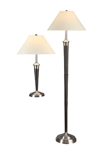 Artiva USA Twin-Pack, Classic Cordinates Table and Floor Lamps Set, Quality Brushed Steel and Espresso Finish