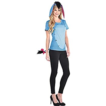 Party City Eeyore Halloween Costume Kit for Adults Winnie the Pooh Small/Medium Includes T-shirt Tail and Headband