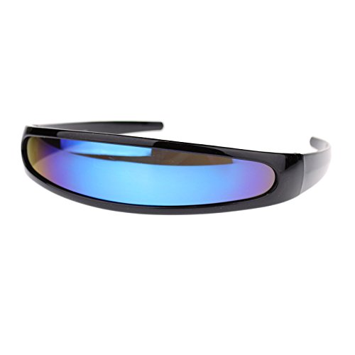 Cyclops Robot Costume Sunglasses Party Rave Futuristic Blue Mirror Lens Black