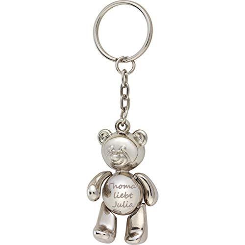 Glücksbringer Teddybär to go mit Gravur mit beweglichen Armen und Beinen, Schlüsselanhänger Teddy mit Namen oder Wunschtext, Geschenk für Freundin, Mama zum Geburtstag, Reise, Dankeschön, Prüfung