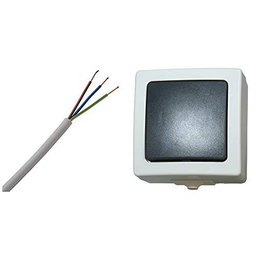 Kopp 150825001 NYM-J 3 x 1,5 mm² Feuchtraum-Kabel, 25 m-Ring & 565656001 Nautic Universalschalter (Aus-und Wechselschalter), grau