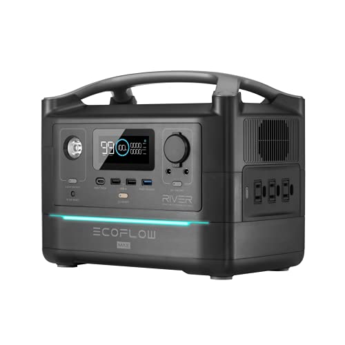 EF ECOFLOW RIVER Max Portable Power Station, 576Wh Backup Lithium Battery with 3 x 600W (Peak 1200W) AC Outlets & LED Flashlight, Clean & Silent Solar Generator for Outdoor Camping RV