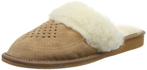 Nowbut - Zapatillas de estar por casa de Piel para mujer, color marrón, talla 40 EU