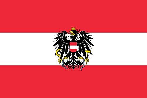 BGFint Österreich Flagge mit Adler Fahne Austria 150x90cm Stoff 100g/qm