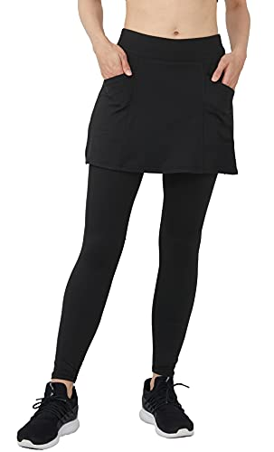 Westkun Damen Leggings mit Kurz Rock Knöchelläng Laufhose mit Taschen und Außentaschen Beiläufig Trainieren Draußen Yoga Sport Soft Rockhose 2-in-1(Schwarz-Kurzerrock,L)
