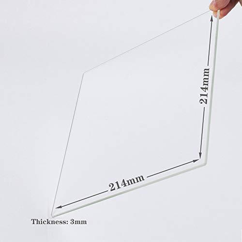 Placa de construcción de vidrio de borosilicato 214 mm x 214 mm x 3 mm para impresoras 3D, vidrio perfectamente plano con bordes pulidos