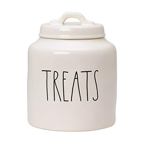 RAE DUNN Cookie Jar, Ceramic Treats Food Container for Cookies or Dog Biscuits, Kitchen Pottery Accents, Snack Canister with Sealed Lid (5.5' x 5.5' x 8')